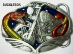 SNAKE / MOTORCYCLE Belt Buckle + display stand